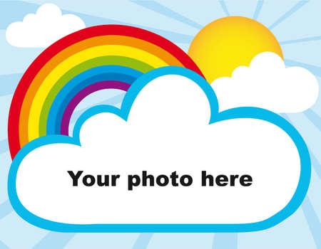 rainy sky: Sol, arco iris y marco de fotos de nubes. ilustraci�n vectorial