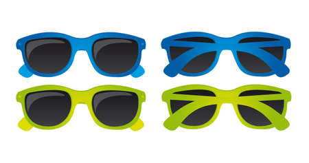 ultraviolet: Blue green sunglasses isolated over white background. vector Illustration