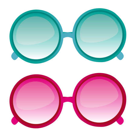 Blue and pink sunglasses vector isolated over white background. vector Vector