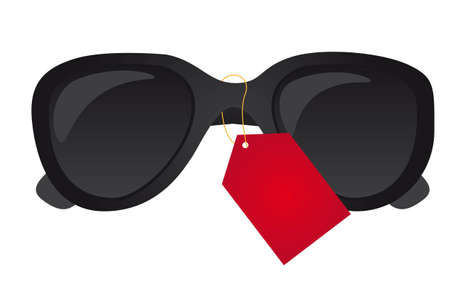 tagged: black sunglasses tagged isolated over white background. vector Illustration
