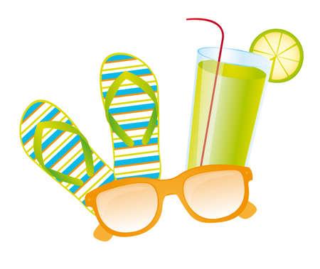 sun tan: Chanclas, limonada, vector gafas de sol sobre fondo blanco