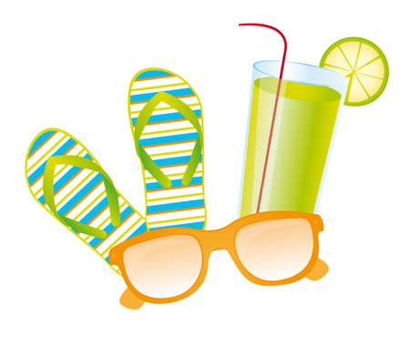 flops: Flip flops, lemonade, sunglasses vector over white background