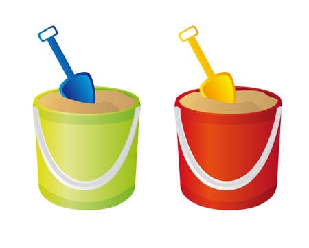 green and red sand bucket, and shovel vector. illustration Vector