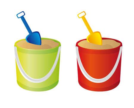 sandbox: green and red sand bucket, and shovel vector. illustration