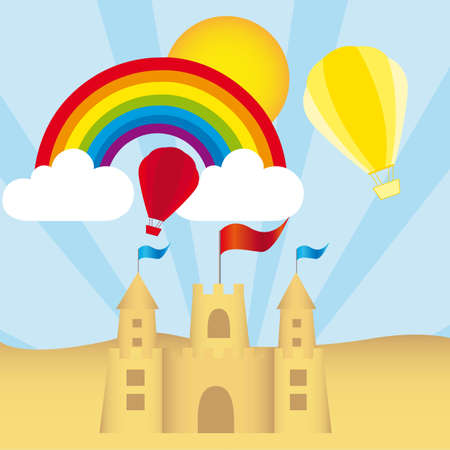Sancastle, rainbow, clouds, hot air balloon vector. illustration Vector