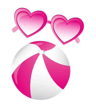 eyewear fashion: heartshaped pink sunglasses and balloon vector over white background