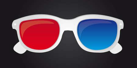 white 3d glasses with black background. vector illustration Vector