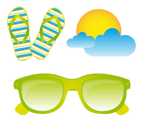 flipflops: Sunglasses, flip flops, sun, clouds, vector, isolated, white background
