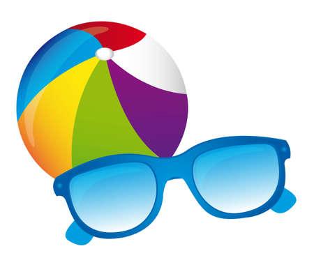 inflar: pelota de playa, gafas de sol, vector insola fondo blanco Vectores
