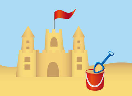 Sandcastel and shovel over summer landscape. vector Vector