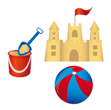 beach game: Sandcastle, shovel, and beachball isolated, white background