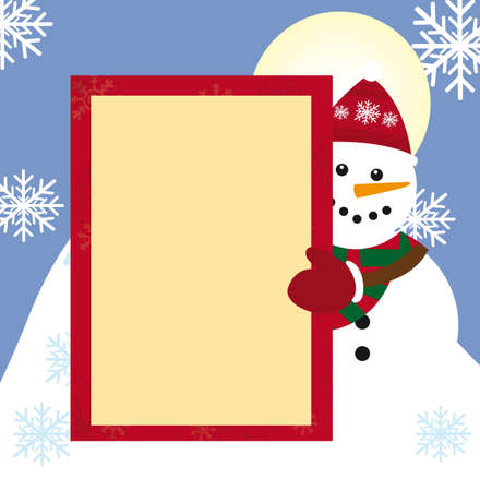 snowman with space advertinsing over winter landscape. vector photo
