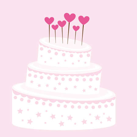 torte: pink and white cute cake over pink background. vector