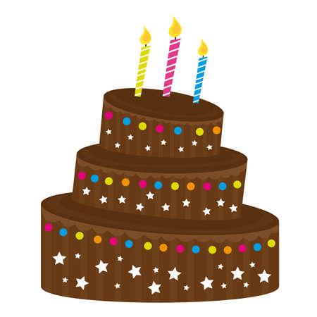 porcion de torta: magdalena de chocolate sobre fondo blanco. ilustraci�n vectorial Vectores