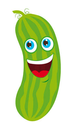 green cucumber cartoon over white background. vector