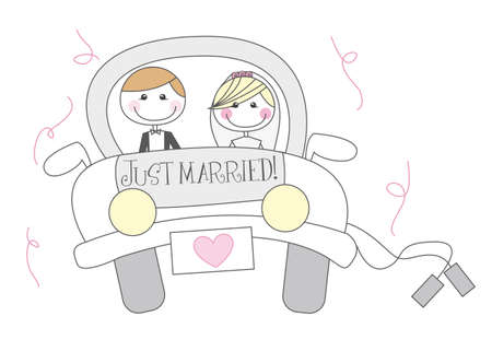 just married cartton with men and woman cartoon. vector Illustration