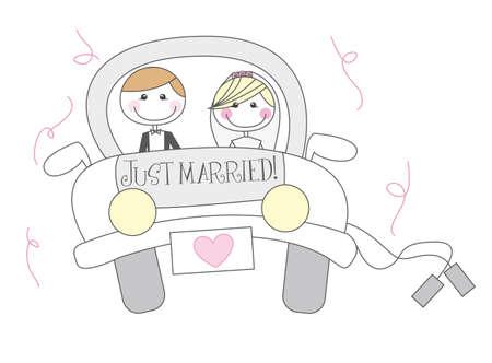 net getrouwd cartton met mannen en vrouwen cartoon. vector Vector Illustratie