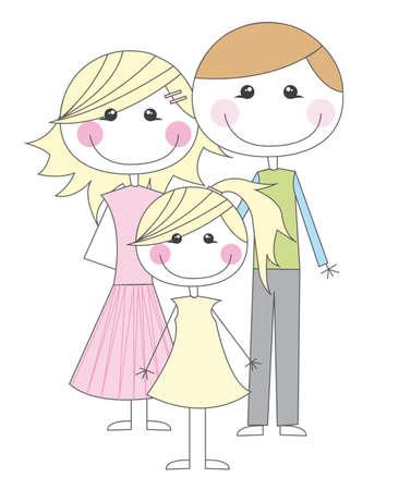 부모: 흰색 배경 위에 행복한 가족 만화. 벡터 일러스트