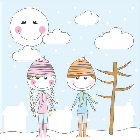 girl and boy cartoon over winter landscape. vector Vector