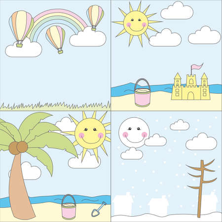 summenr and winter landscape cartoons. vector illustration Vector
