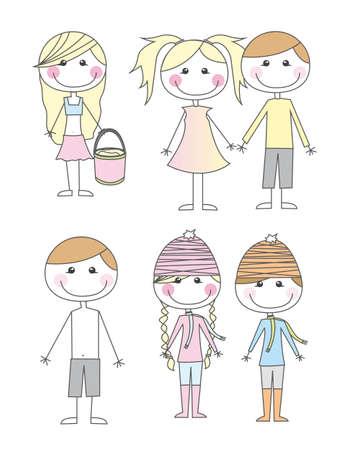 enfant maillot de bain: Dessins d'enfants mignons isol� sur fond blanc. vectoriel