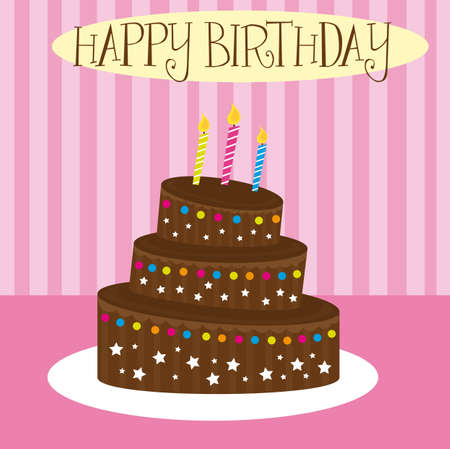 chocolate cake over pink background. vector Vector
