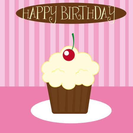 vanilla cupcake over pink background. vector illustration Stock Vector - 11618576