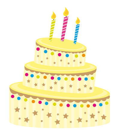 cute vanilla cake over white background. vector illustration