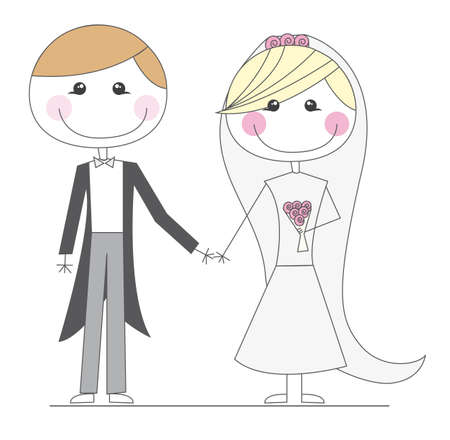 heiraten: just married Karikaturen über weißem Hintergrund. Vektor