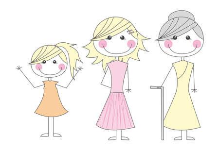 granddaughter: cute girl, mother and grandmother cartoons vector illustration Illustration