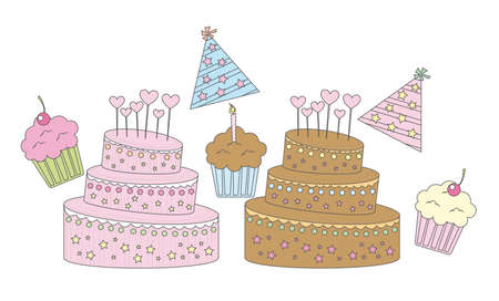 vanilla,strawberry and chocolate cupcakes vector illustration Vector