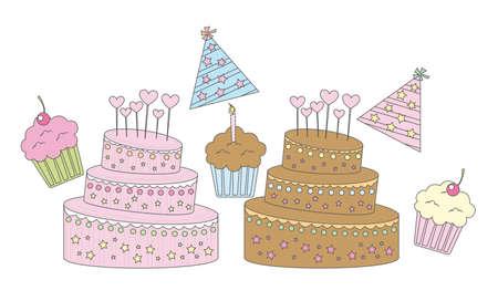 chocolate truffle: vanilla,strawberry and chocolate cupcakes vector illustration