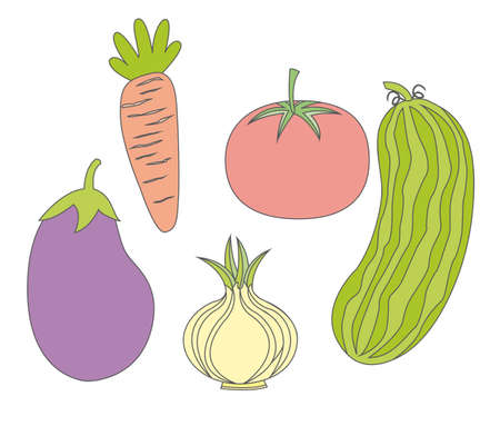 cute vegetables over white background. vector illustration Stock Vector - 11618604