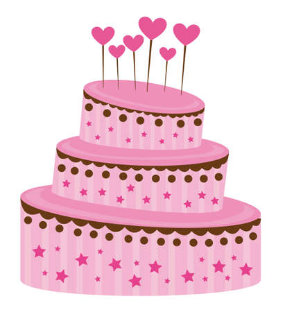 pink strawberry cake over white background. vector illustration Vector