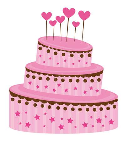 fancy pastry: pink strawberry cake over white background. vector illustration Illustration