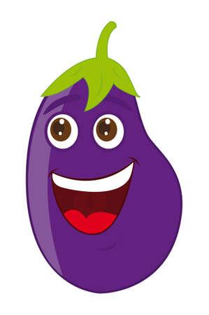 aubergine: Auberginen-Karikatur auf wei�em Hintergrund. Vektor-Illustration