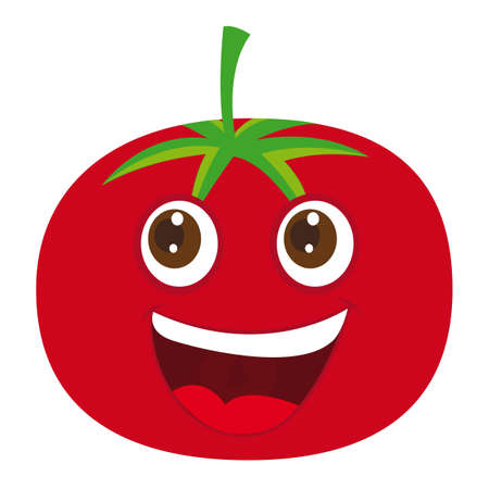 lindo tomate de dibujos animados sobre fondo blanco. ilustración vectorial