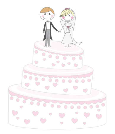 cute cake just married cartoon over white background. vector  Vector