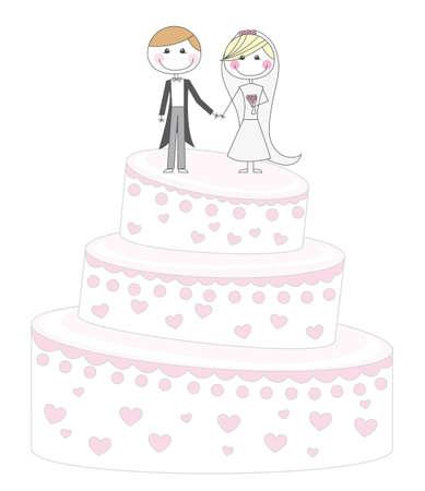 linda torta de recién casados ??de dibujos animados sobre fondo blanco. vector