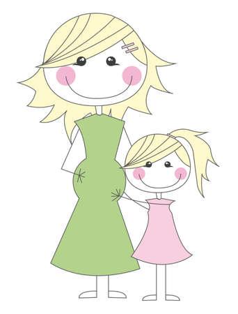mujeres embarazadas: madre embarazada con su hija de la ilustraci�n vectorial dibujos animados