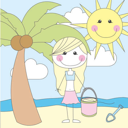 cute girl cartoon over summer landscape vector illustration Vector
