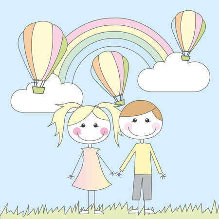 rainbow slide: girl and boy cartoon vector illustration. summer landscape