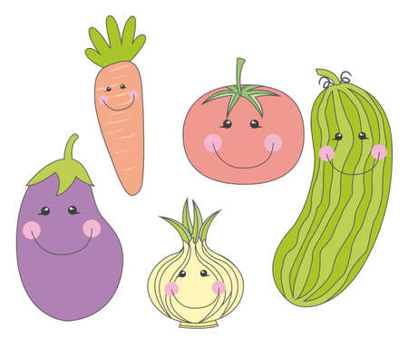 cute vegetables cartoons over white background. vector Vector