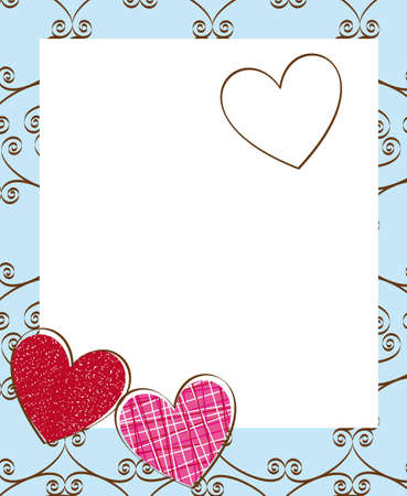 cute hearts with ornament and space to copy. vector Vector