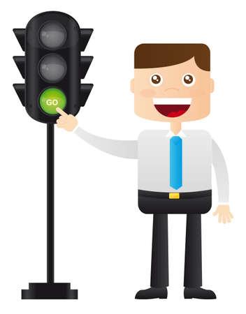 semaphore: hombre de negocios con el sem�foro sobre fondo blanco. vector