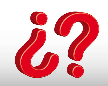 3d red question sign over gray background. vector illustration Vector