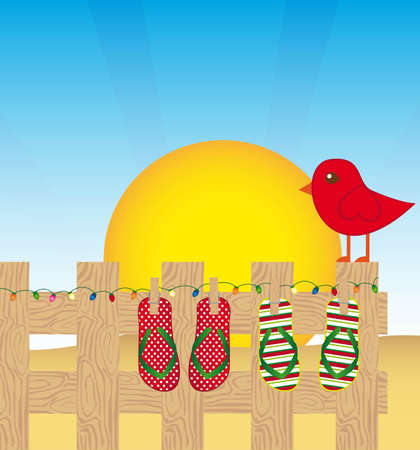 summer landscape with flip flops and red bird. vector illustration Vector