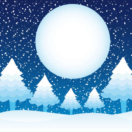 trees and moon over snow, winter landscape. vector illustration