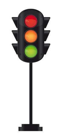 traffic control: sem�foro negro sobre fondo blanco. ilustraci�n vectorial Vectores