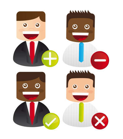 3d manager: businessman icons with signs over white background. vector